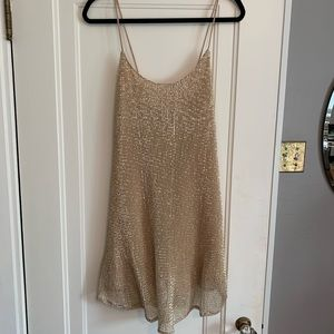 Dresses & Skirts - Nude Sequin Mesh Dress
